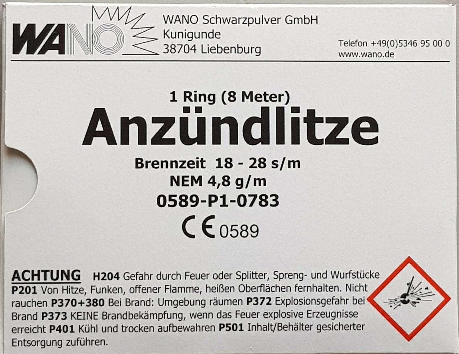 Wano Anzündlitze Brennzeit 18 – 28 s/m, gelb